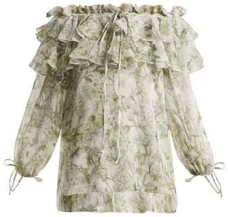 Alexander McQueen Floral-print off-the-shoulder silk top