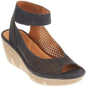 Clarks Artisan Nubuck or Leather Cut-out Wedges - Clarene Prima