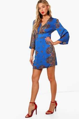 boohoo Wide Sleeve Satin Scarf Print Shift Dress