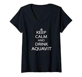Womens Keep Calm and Drink Aquavit V-Neck T-Shirt