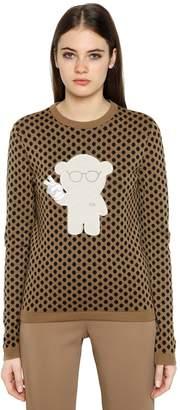 Emporio Armani Polka Dot Jacquard Wool Blend Sweater