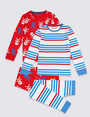 Marks and Spencer 2 Pack Pyjamas with Stretch (3-16 Years)