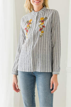 Mystree embroidered button down blouse