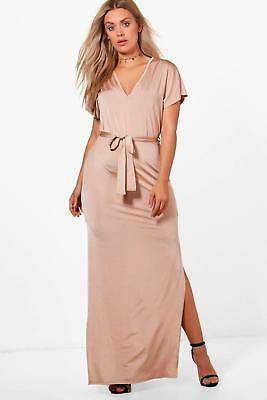 boohoo NEW Womens Plus Tora Slinky Kimono Sleeve Tie Maxi Dress in Polyester