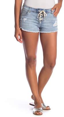 Billabong Lite Hearted Lace-Up Distressed Shorts