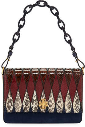Tory Burch Kira Pieced Exotic Snakeskin Shoulder Bag