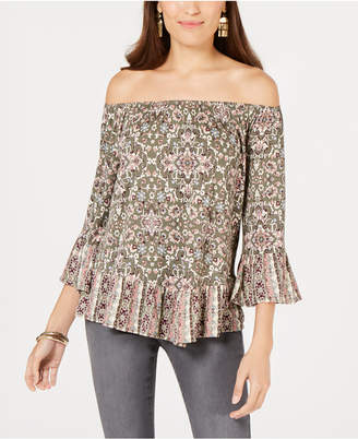 Style&Co. Style & Co. Petite Printed Off-The-Shoulder Top