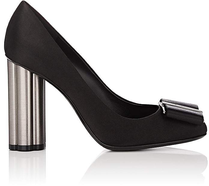 Salvatore Ferragamo Women's Flower-Heel Satin Pumps