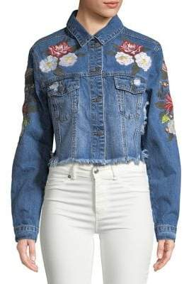 Lord & Taylor Design Lab Floral-Embroidered Denim Jacket