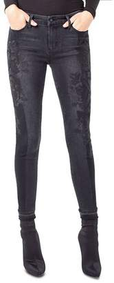 Liverpool Kayden Embroidered Skinny Jeans in Carbon Shadow