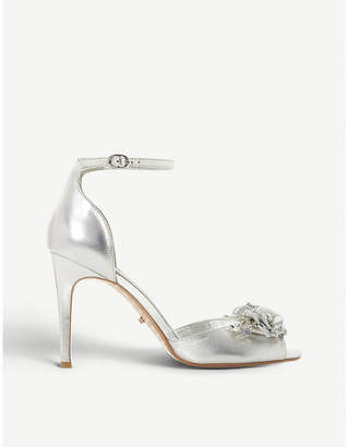 Dune Meadowe floral metallic leather heeled sandals