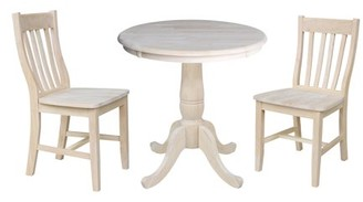 """INC International Concepts 30"""" Round Pedestal Dining Table with 2 Cafe Chairs - Unfinished - 3 Piece Set"""