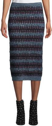 Carven Zigzag Jacquard Midi Skirt
