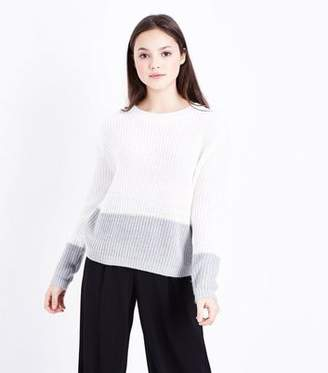 New Look Teens Off White Colour Contrast Jumper