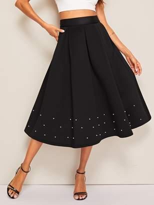 82f92dbde Shein Wide Band Waist Pearl Beading Boxy Pleated Skirt