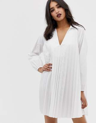 Asos DESIGN pleated long sleeve cotton swing mini dress