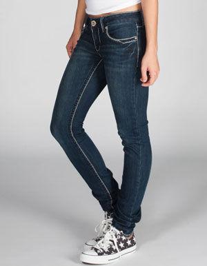 Hydraulic Embellished Pocket Womens Skinny Jeans
