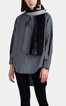 Balenciaga Women's Logo Wool Scarf - Black