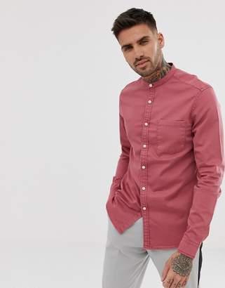 Asos Design DESIGN stretch slim denim shirt in pink with grandad collar