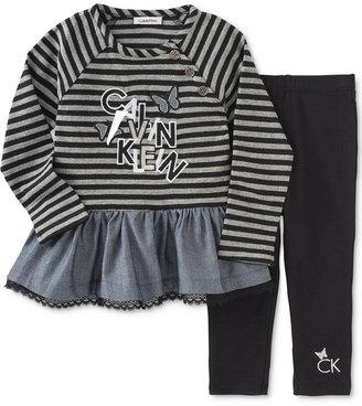 Calvin Klein Baby Girls' 2-Pc. Peplum Tunic & Leggings Set $50 thestylecure.com