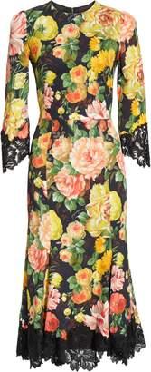 Dolce & Gabbana Lace Trim Floral Print Cady Dress