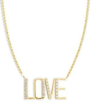 Lana Diamond& 14K Yellow Gold Love Pendant Necklace