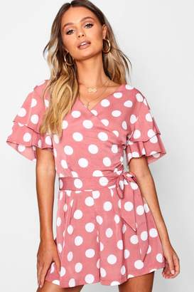 boohoo Flutter Sleeve Large Polka Dot Playsuit