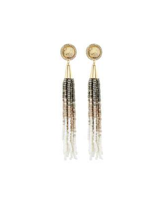 Lydell NYC Simulated Abalone Beaded Tassel Earrings $50 thestylecure.com