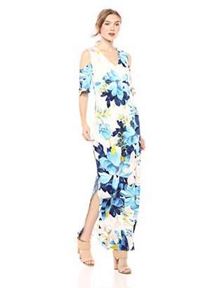 Rachel Roy Women's Printed Cold Shoulder Jersey Maxi Dress