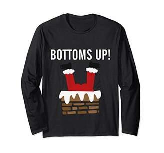 Bottoms Up Santa Chimney Xmas Drinking Long Sleeve T-shirt