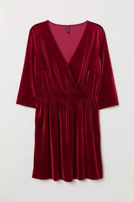 H&M Short Velvet Dress - Red