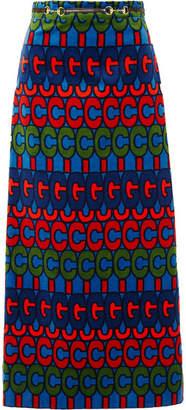 Gucci Horsebit-detailed Printed Velvet Skirt - Blue
