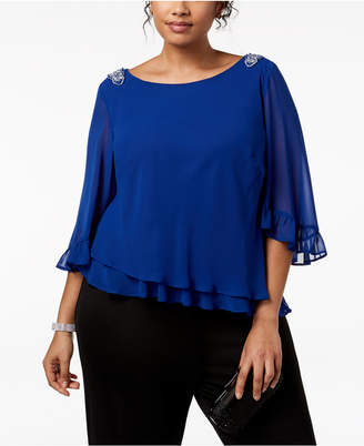 Alex Evenings Plus Size Embellished Tiered Blouse