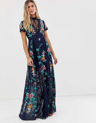Frock and Frill plunge front embroidered maxi dress with lace inserts in navy
