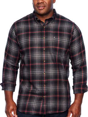 Izod Tall Slim Flannel Wovens Long Sleeve Flannel Shirt-Slim