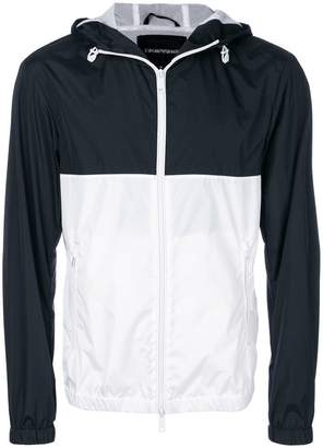 Emporio Armani colour block rain jacket