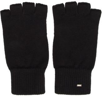 Saint Laurent Black Wool Fingerless Gloves