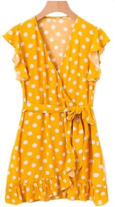 Goodnight Macaroon 'Adria' Polka Dot Frilly Wrap Dress (2 Colors)