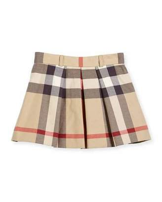 Burberry Kittie Classic Check Pleated Skirt, Tan, Size 4-14