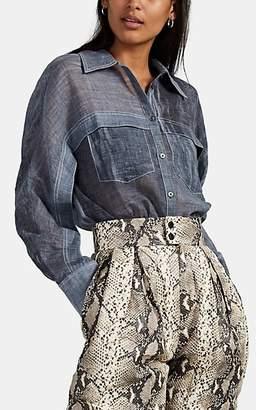 Woolmark Colovos X Prize Women's Dyed Wool-Blend Gauze Blouse - Blue
