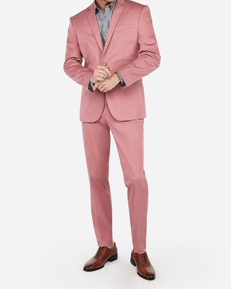 Express Slim Pink Cotton Sateen Performance Stretch Suit Pant