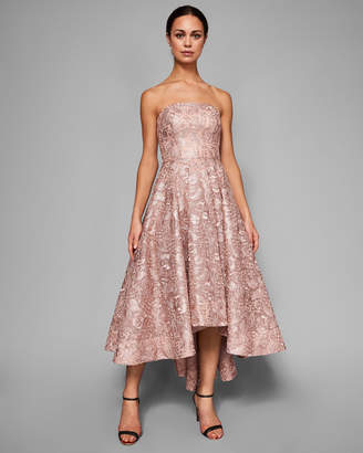 Ted Baker LUCIE Strapless jacquard dropped hem dress