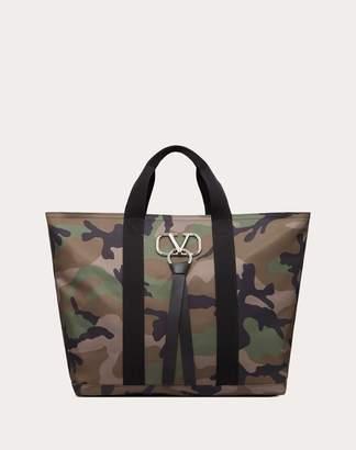 Valentino Garavani Uomo Nylon Vring Camouflage Tote Man Military Green Acrylic 10% OneSize