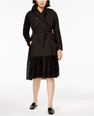 French Connection Double-Breasted Lace Trench Coat