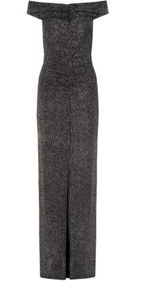 Quiz Black And Silver Ruched Front Maxi Dress