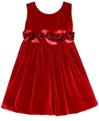 Isabel Garreton Sleeveless Velvet Holiday Dress w/ Rose Detailing, Size 7-10