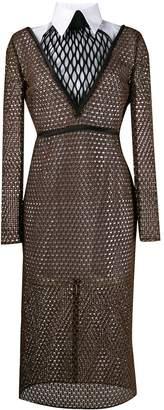 Fendi double-layered macramé dress