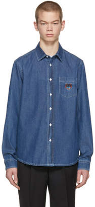 Kenzo Indigo Denim Core Tiger Crest Shirt