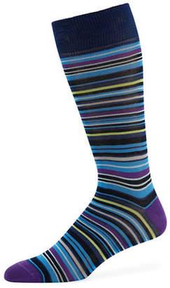 Neiman Marcus Multi-Striped Cotton-Blend Socks
