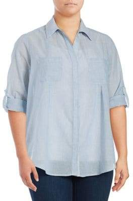 Lord & Taylor Plus Cotton Button-Down Shirt